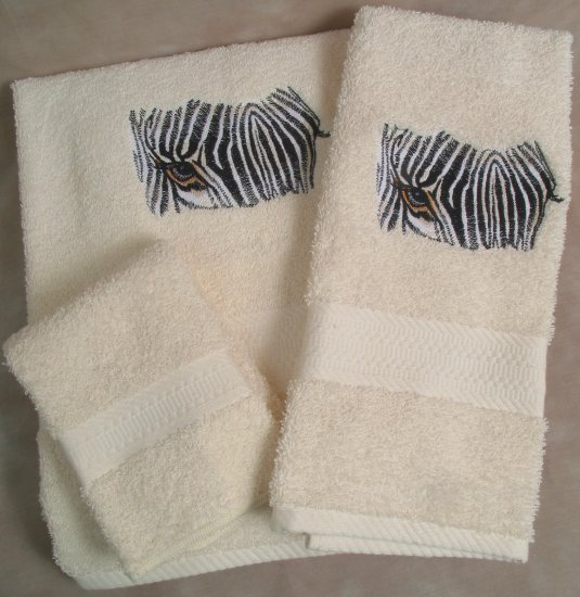 Embroidered Zebra Cream Wash Hand Bath Towels Set