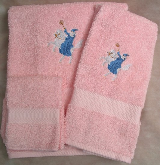 Embroidered Wizard Horse Pink Wash Hand Bath Towels Set