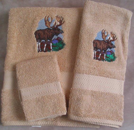 Embroidered Moose Beige Wash Hand Bath Towels Set