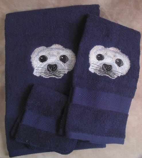Embroidered Harp SEAL Dark Blue Wash Hand Bath Towels Set