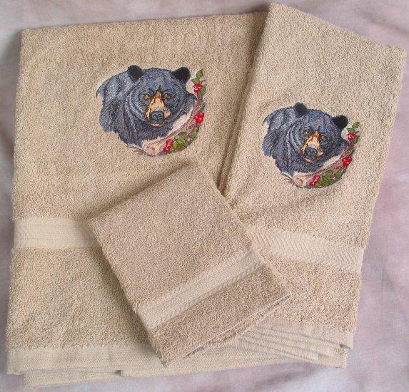 Embroidered Black Bear on Beige Bath Towel Set