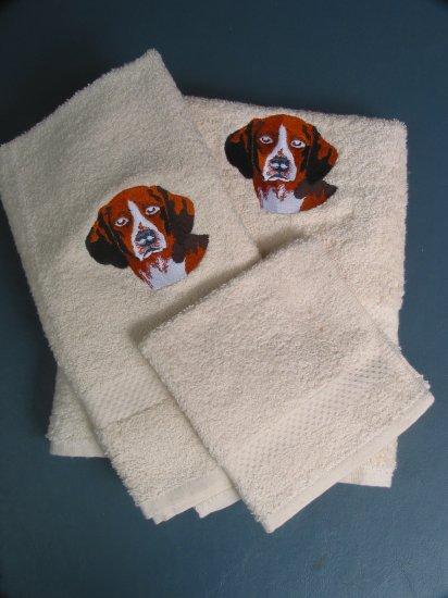 Embroidered Beagle Dog Cream Bath Towels Set