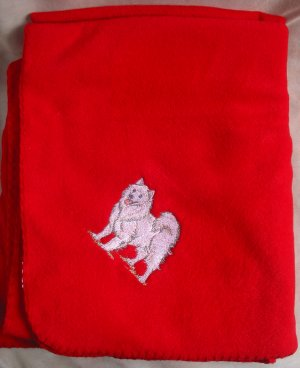 Polyester Embroidered Husky DOG Red Fleece Throw NEW