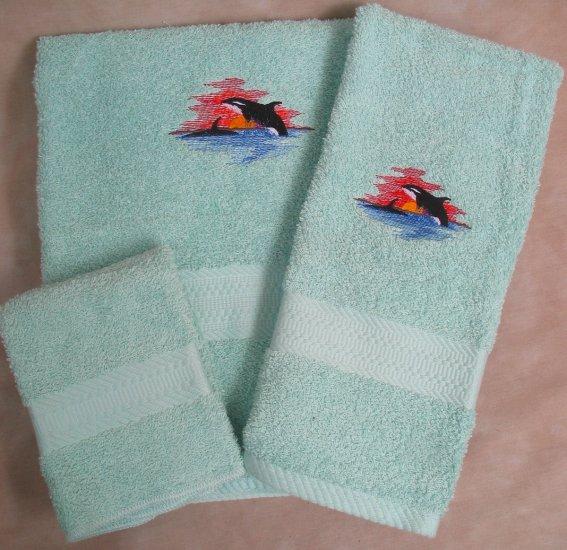 Embroidered Killer Whale Wash Hand Bath Towel Set