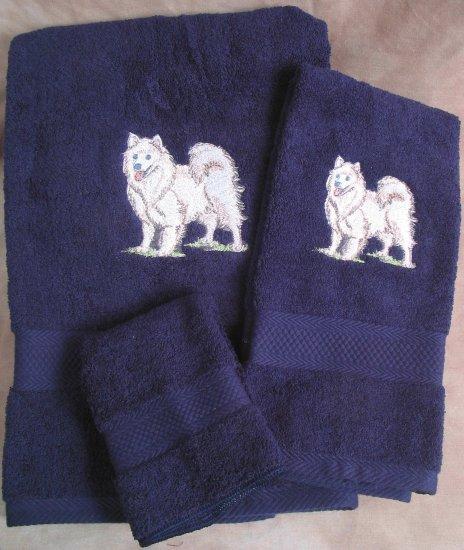 Embroidered Husky DOG Dark Blue Bath Towels Set