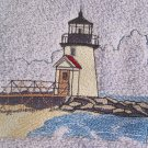 Embroidered Brant Point Lighthouse Beige Wash Hand Bath Towels Set