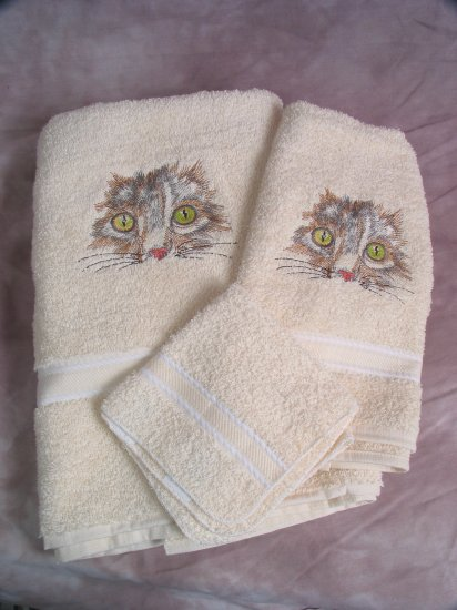 Embroidered CAT Face Cream Wash Hand Bath Towel Set