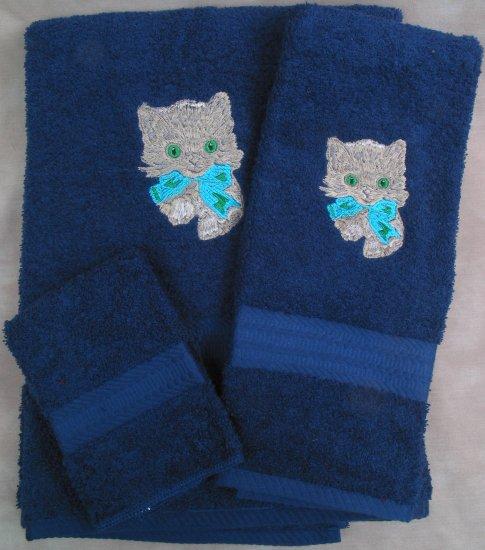 Embroidered Kitten w/Bow CAT Dark Blue Wash Hand Bath Towels Set