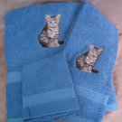 Embroidered Tiger Kitten CAT Blue Wash Hand Bath Towels Set