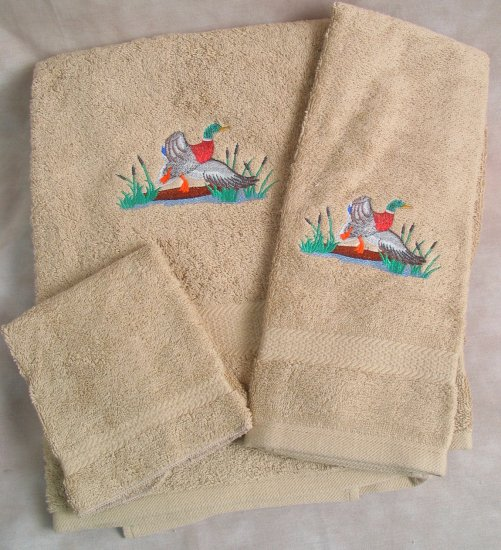 Embroidered Mallard DUCK Beige Wash Hand Bath Towels Set