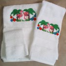 Embroidered Flamingo Pair on White Wash Hand Bath Towels Set