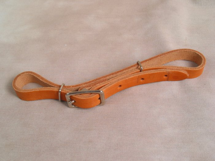 Flat Natural Leather Double Curb Strap