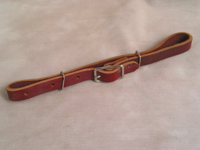 Flat Dark Leather Double Curb Strap