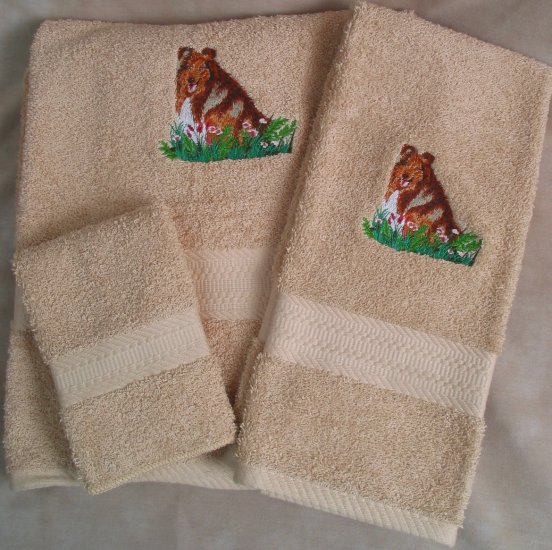 Embroidered Collie on Tan Wash Hand Bath Towels Set