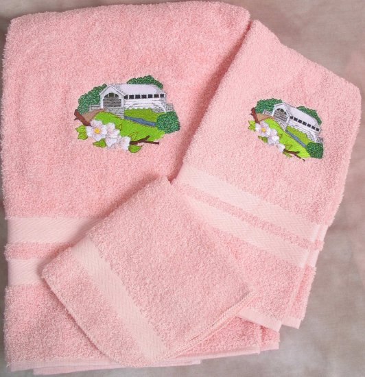 Embroidered White Covered BRIDGE Pk Bath Towels Set