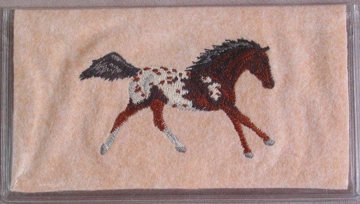 Felt Embroidered Appaloosa Horse Peach Vinyl Checkbook Cover