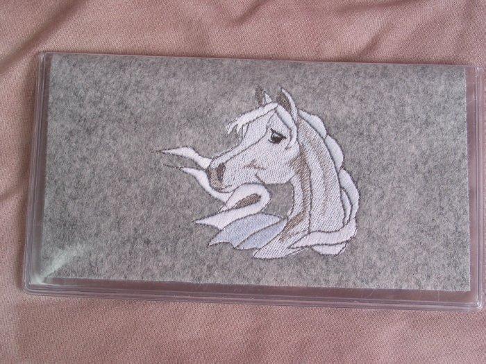 Felt Embroidered Arabian Horse Gray Vinyl Checkbook Cover