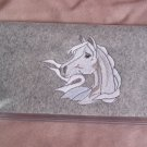 Felt Embroidered Arabian Horse Gray Vinyl Checkbook Cover