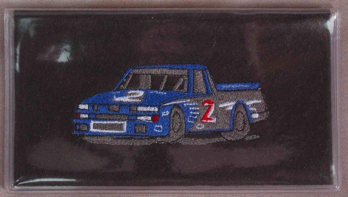 Felt Embroidered Nascar Truck Vinyl Black Checkbook Cover