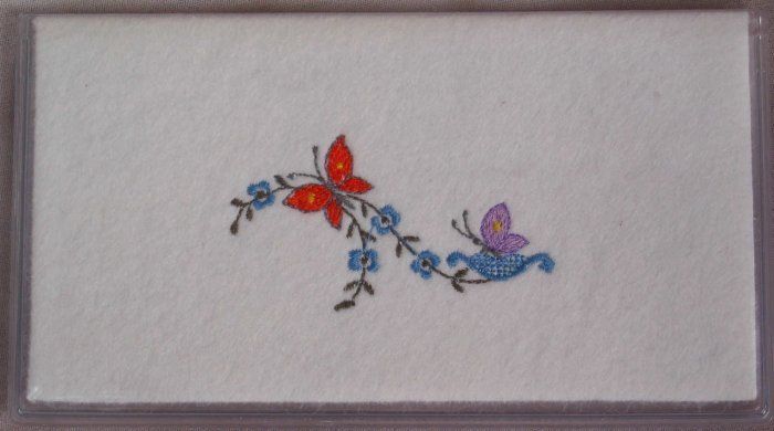 Felt Embroidered Butterflies and Flowers Vinyl White Checkbook Cover