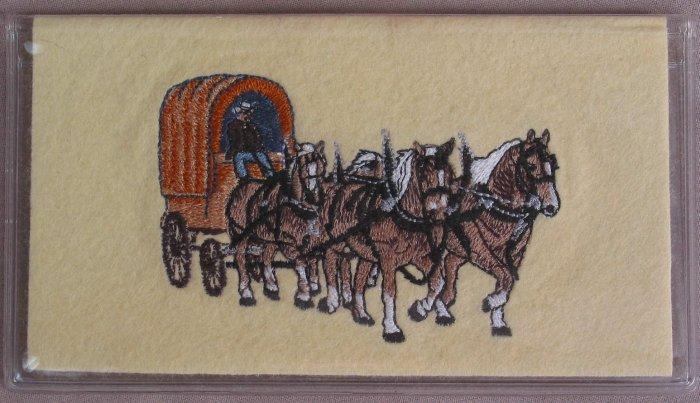 Felt Embroidered Draft Horse Team Cream Vinyl Checkbook Cover