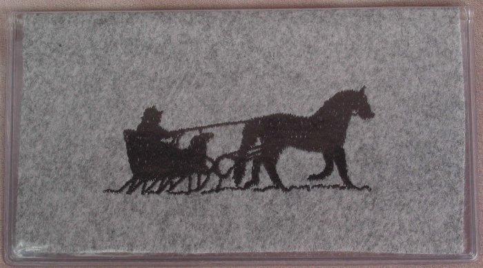 Felt Embroidered Horse & Sleigh Gray Vinyl Checkbook Cover