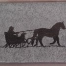 Felt Embroidered Horse & Sleigh Gray Vinyl Checkbook Cover