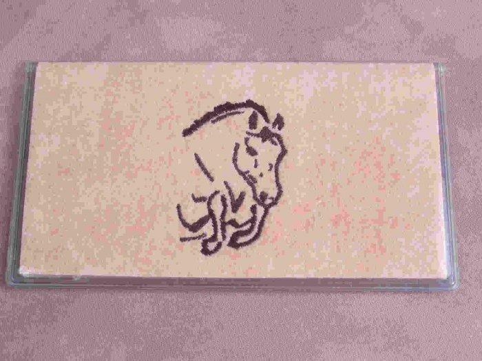Felt Embroidered Jumping Horse Peach Vinyl Checkbook Cover