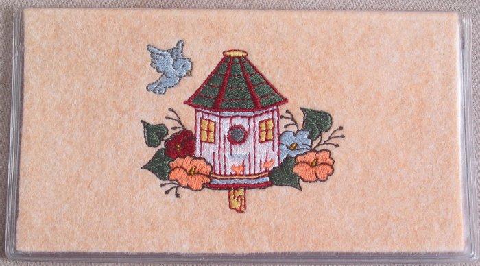 Felt Embroidered Bird House Peach Vinyl Checkbook Cover
