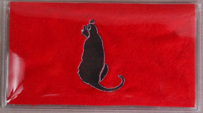 Felt Embroidered Black Cat Red Vinyl Checkbook Cover