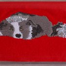 Felt Embroidered Border Collie Red Vinyl Checkbook Cover