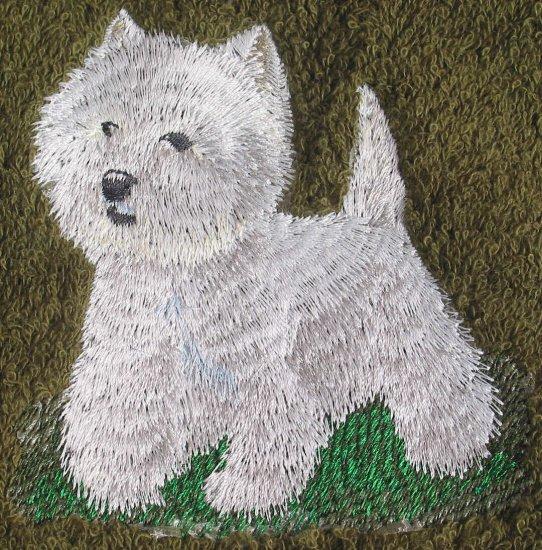 Embroidered West Highland Terrier on Dark Green Wash Hand Bath Towels Set