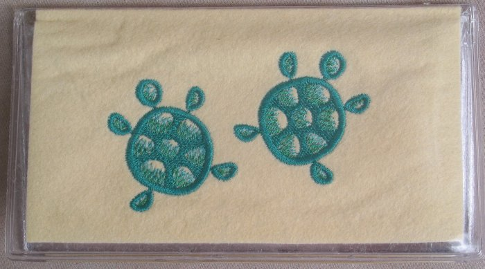 Felt Embroidered Two Turtles Cream  Vinyl Checkbook Cover