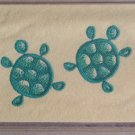 Felt Embroidered Two Turtles Cream  Vinyl Checkbook Cover