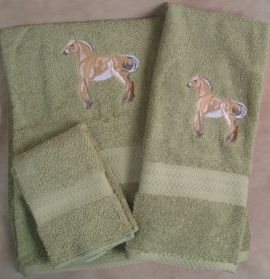 Embroidered Fjord Horse Sage Wash Hand Bath Towels Set