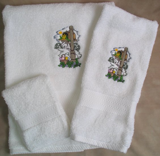 Embroidered Mailbox with Easter Eggs on White Wash Hand Bath Towels Set