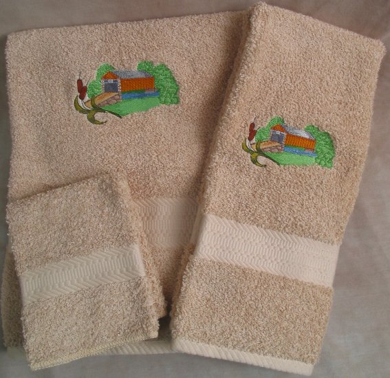 Embroidered Covered Bridge with Cat Tails Beige Wash Hand Bath Towel Set