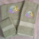 Embroidered Butterfly Fish on Sage Green Wash Hand Bath Towels Set
