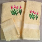 Embroidered Four Tulips on Yellow Wash Hand Bath Towel Set