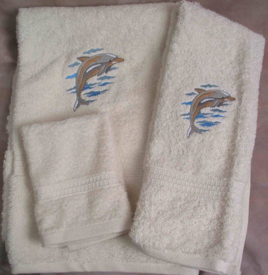Embroidered Dolphin on Cream Wash Hand Bath Towel Set