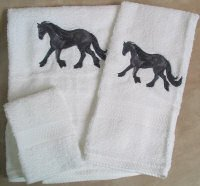 Embroidered Friesian HORSE White Wash Hand Bath Towel Set