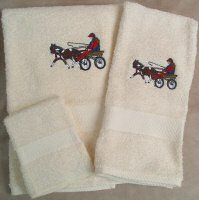 Embroidered Mini Horse and Roadster Cart on Cream Wash Hand Bath Towels Set