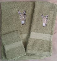 Embroidered Donkey Head on Sage Green Wash Hand Bath Towel Set