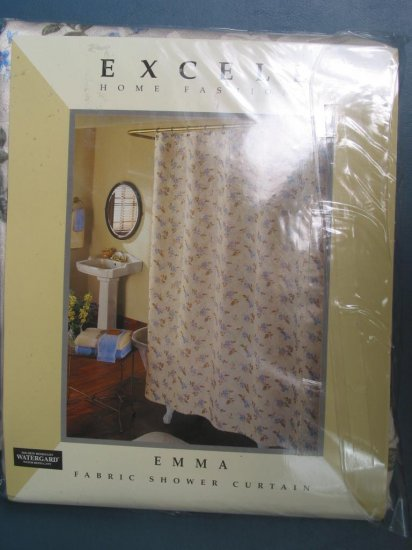 Excell Floral Fabric Shower Curtain NEW
