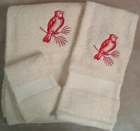 Embroidered Cardinal on a Branch on Cream Wash Hand Bath Towels Set