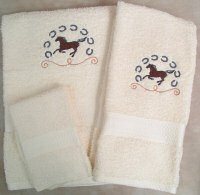 Embroidered Galloping Horse and Horse Shoes on Cream Wash Hand Bath Towel Set