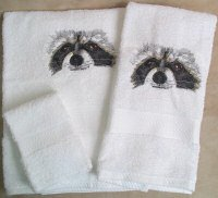 Embroidered Raccon Face on White Wash Hand Bath Towel Set