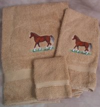 Embroidered Morgan Horse on Beige Wash Hand Bath Towel Set