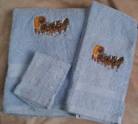 Embroidered Four Horse Hitch and Covered Wagon on Light Blue Wash Hand Bath Towel Set