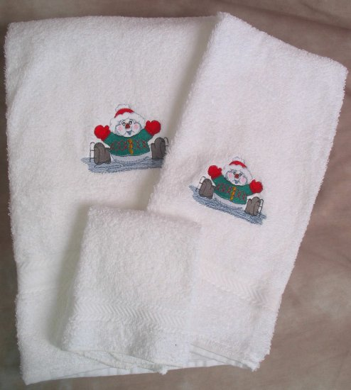 Embroidered Ice Skating Snowman on White Wash, Hand,  Bath Towel Set
